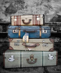 Four vintage luggage bags