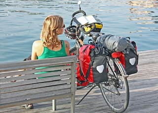 Bicylce packed with travel gear