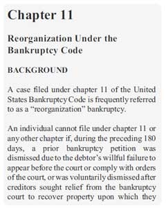 Chapter 11 Bankruptcy Chapter 11 US bankrupcy law