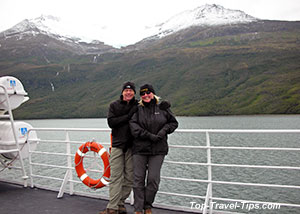 Asa Gislason and her husband onboard wildlife cruise ship