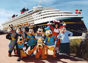 Disney characters in front of Disney cruise ship