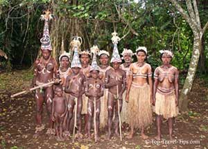 Extended family in Vanuatu wearing traditional clothing