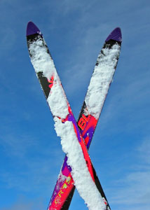 Pair of skis on sunny day