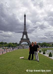 Couple in love front of Eiffel tower Paris