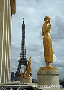 Golden statues front of Eiffel tower Paris
