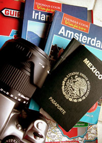 Passports and travel guide books