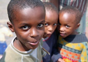 Three young boys in a orphanage in Moshi Tanzania