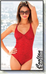 Woman wearing red coloured one piece swimsuit