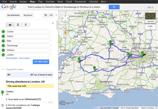 Sample route map round trip London to London