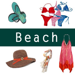 Selection of beach clothes and gear on Amazon