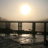 Sunrise over bridge in Laos