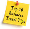 Top 10 business travel tips on sticky note