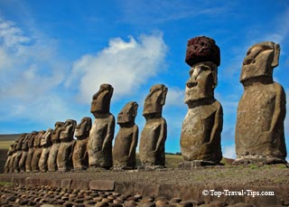 Maoi status on Easter Island facing inland
