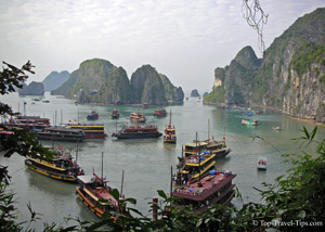 Ships in Halong bay in Vietnam